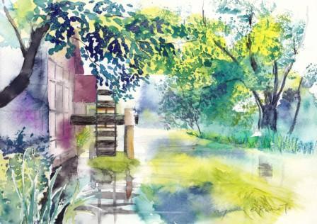 6月の朝日カルチャー 風景画コース