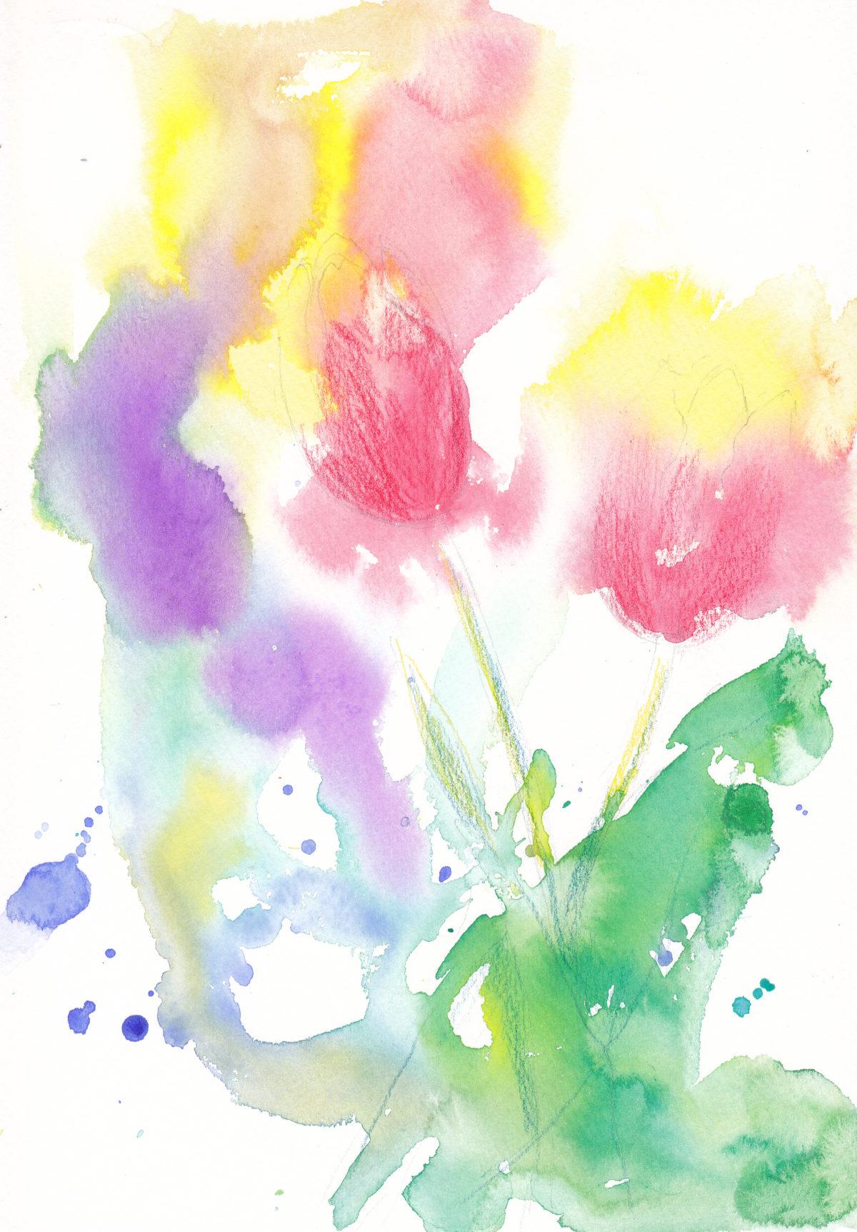 1月水彩色えんぴつ教室 チューリップ
