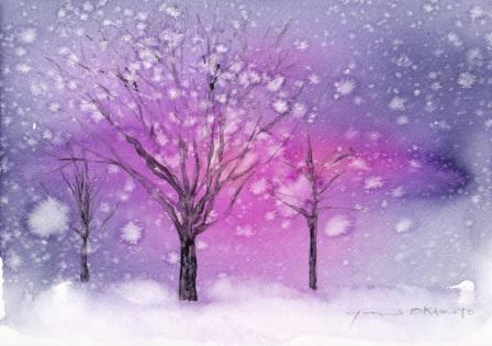 2月水彩色えんぴつ教室 snow park