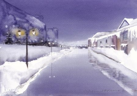 3月の朝日カルチャー風景画コース 冬の小樽運河