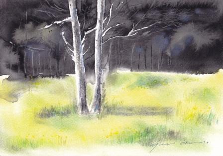 4月水彩色えんぴつ教室 木立の風景