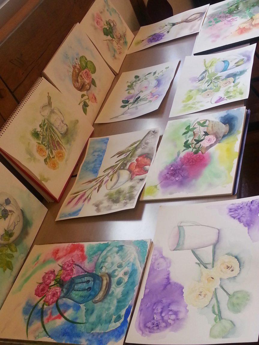 2014年11月3日花と器を描く