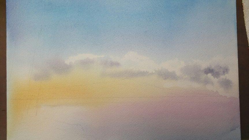 産経学園 透明水彩 風景画 湖