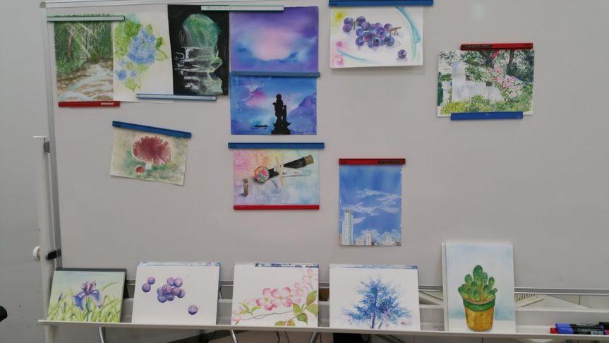 7月水彩色えんぴつ教室 自由課題でした