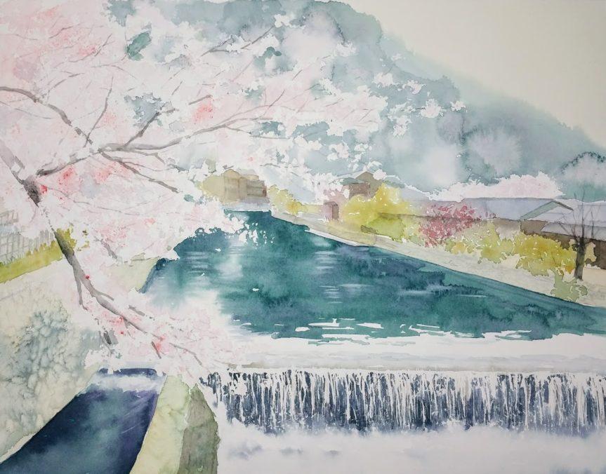 産経学園 透明水彩 風景 嵐山