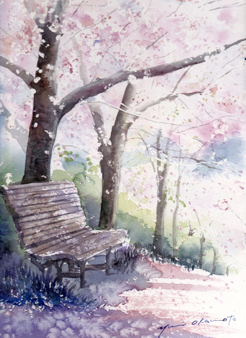 3月19日水彩色鉛筆オンライン講座「風に舞う桜を描く」