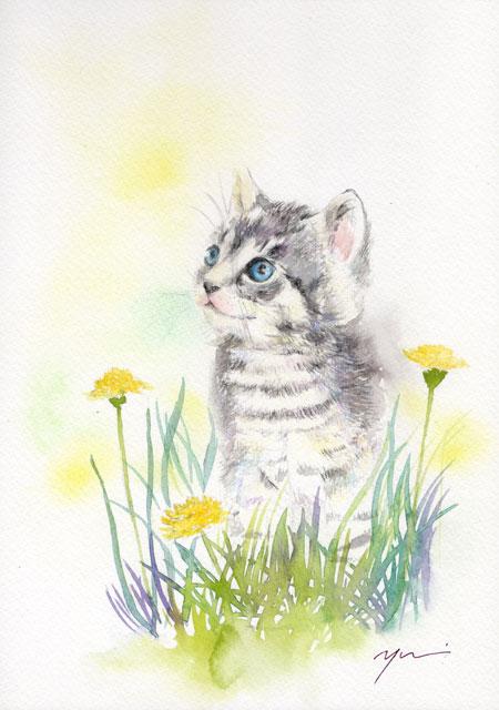 3月水彩色鉛筆教室「子ネコとたんぽぽ」