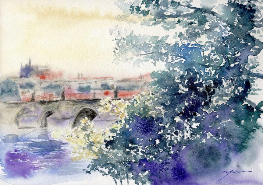 10月水彩色えんぴつ風景画コース「プラハ カレル橋」