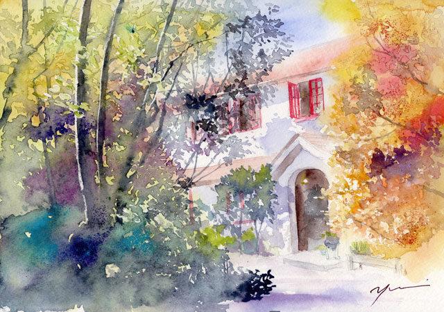 10月水彩色鉛筆風景画コース「午後の時間」