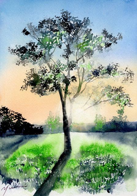 4月水彩色鉛筆 風景画コース「春の日暮れ」