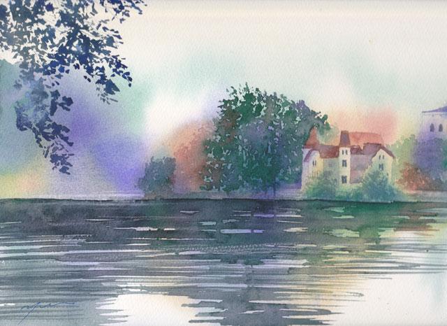 12月産経学園 透明水彩「ブレッド湖」