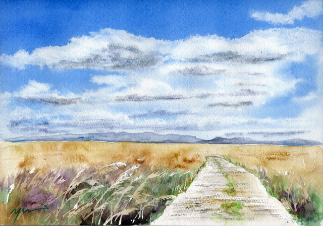 10月水彩色鉛筆 風景画コース「薄野原」