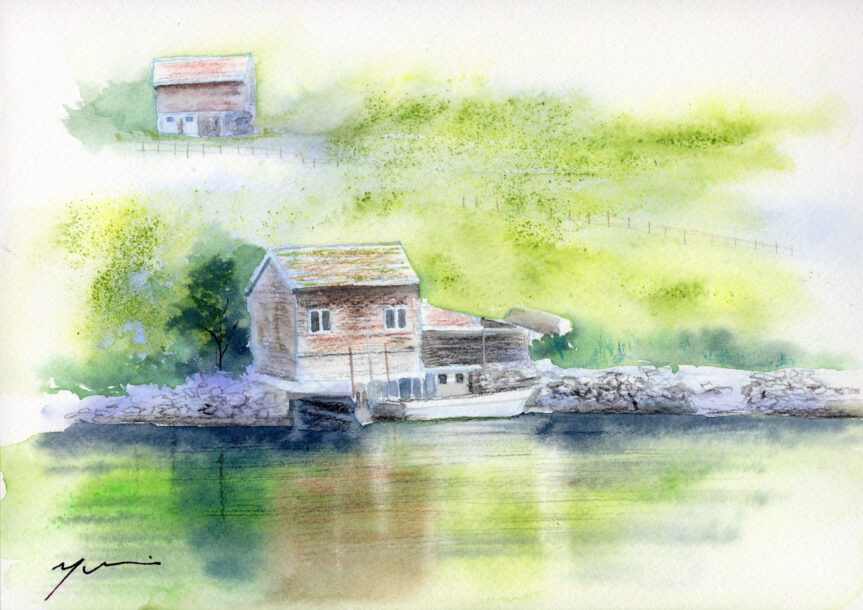 4月水彩色鉛筆 風景画コース「湖畔」