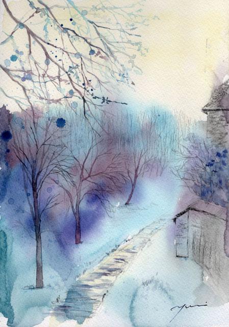 2月水彩色鉛筆風景画コース「森へ」