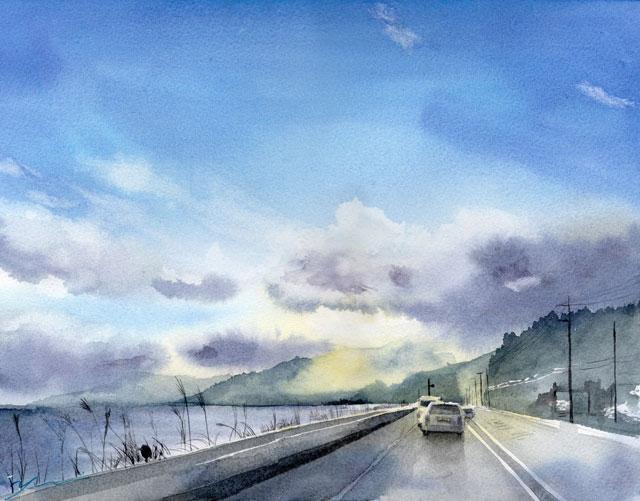 1月 透明水彩「冬の暮」産経学園