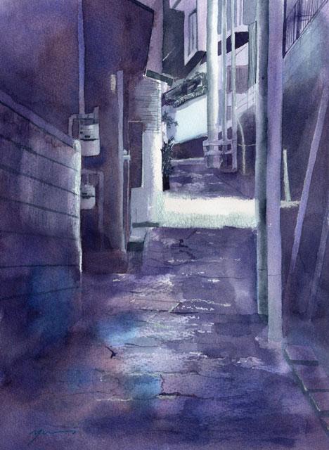 8月 透明水彩「坂道のある風景」産経学園
