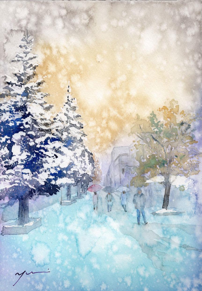 12月水彩色鉛筆風景画コース「北の街」