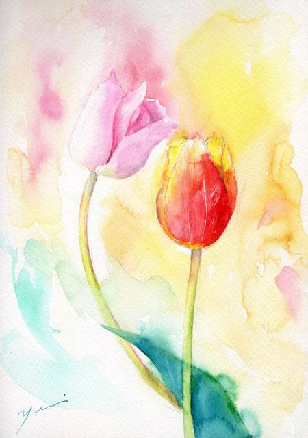 4月水彩色鉛筆教室「チューリップ」