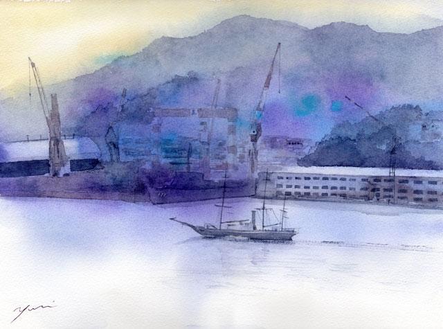 4月 透明水彩「紫苑ながさき」産経学園