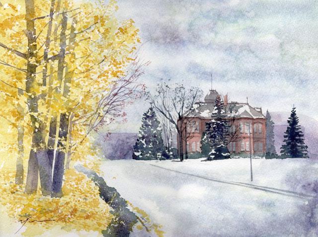 12月 透明水彩「冬のはじまり」産経学園