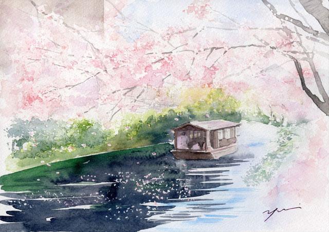 3月水彩色鉛筆 風景画コース「伏見桜」