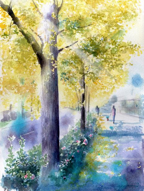 10月 透明水彩「秋色街角」産経学園