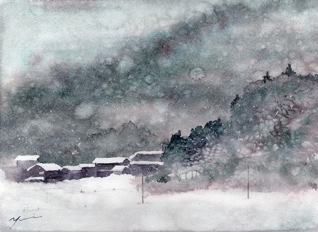 2月 透明水彩「冬日」産経学園
