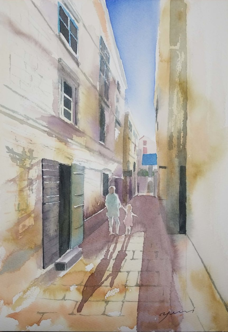 9月産経学園透明水彩「道の向こうへ」