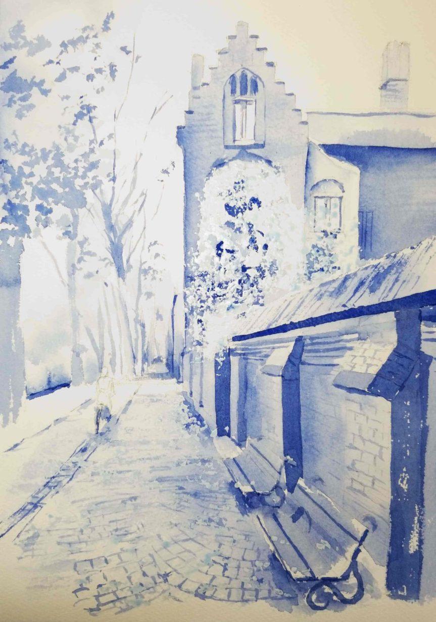 10月産経学園透明水彩「ブリュージュの秋」
