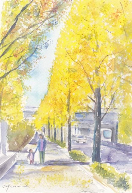 11月水彩色えんぴつ教室 イチョウ並木