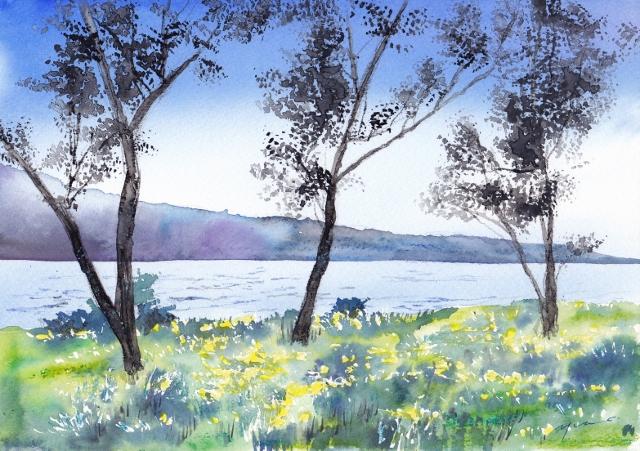 4月朝日カルチャー風景画コース 琵琶湖 湖畔の春