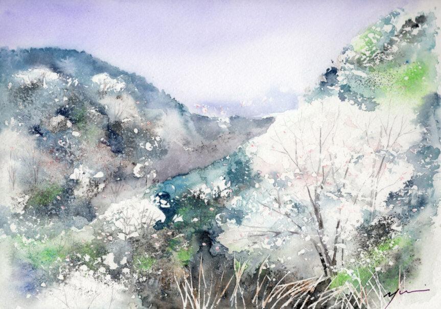 3月水彩色鉛筆教室「山桜萌ゆ」