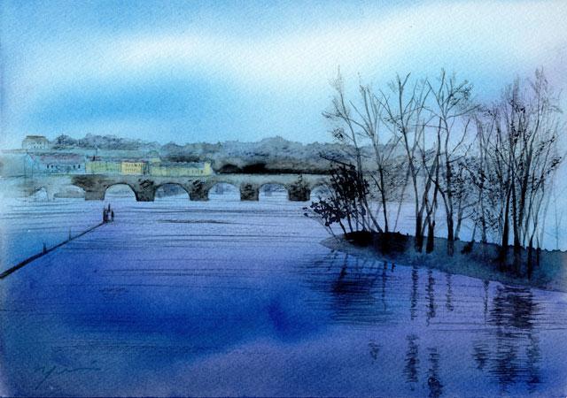 10月水彩色鉛筆 風景画コース「プラハの秋」