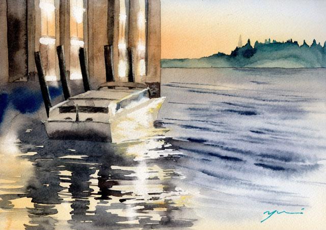 8月水彩色鉛筆 風景画コース「ヴェネツィアの輝き」