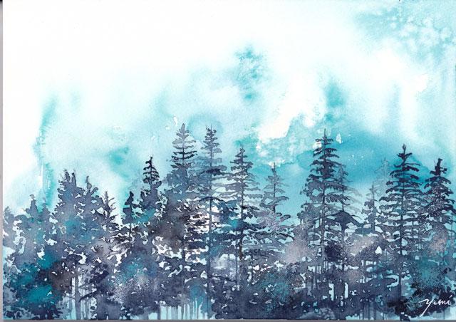 5月水彩色えんぴつ風景画「In the Mists」