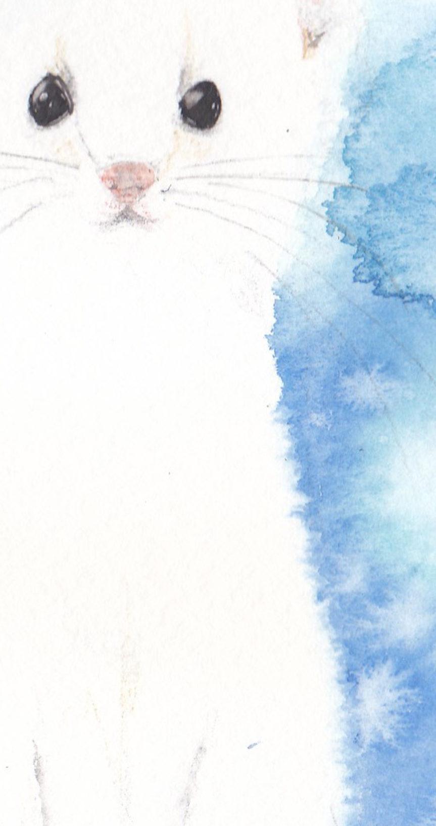 1月水彩色えんぴつ教室「オコジョ」